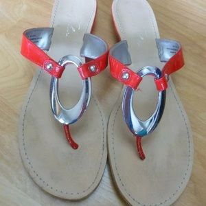 Marc Fisher Sandals Red silver accent Size 9.5